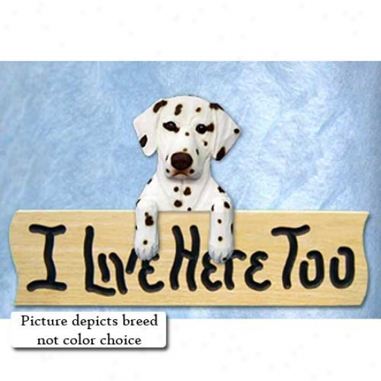 Dalmatian I Live Here Too Oak Finish Sign Black