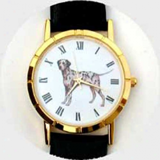 Dalmatian Watch - Large Face, Black Leather