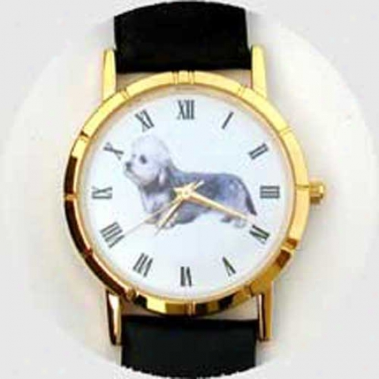 Dandie Dinmont Terrier Watch - Small Face, Black Leather