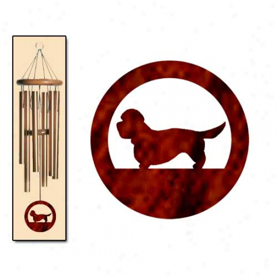Dandie Dinmont Terrier Wind Chimes Medium Bronze