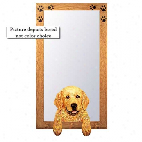 Dark Golden Retriever Hall Mirror Wlth Basswood Walnut Frame Pet
