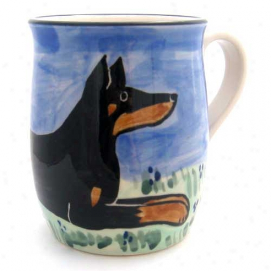 Deluxe Black And Convert into leather Doberman Pinscher Mug