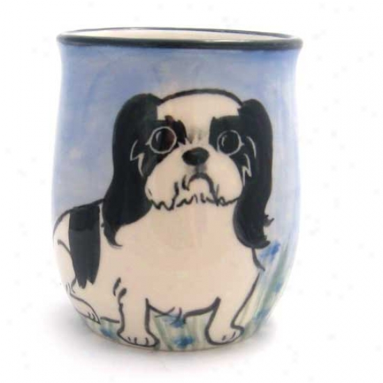 Deluxe Mourning And White Japanese Chin Mug