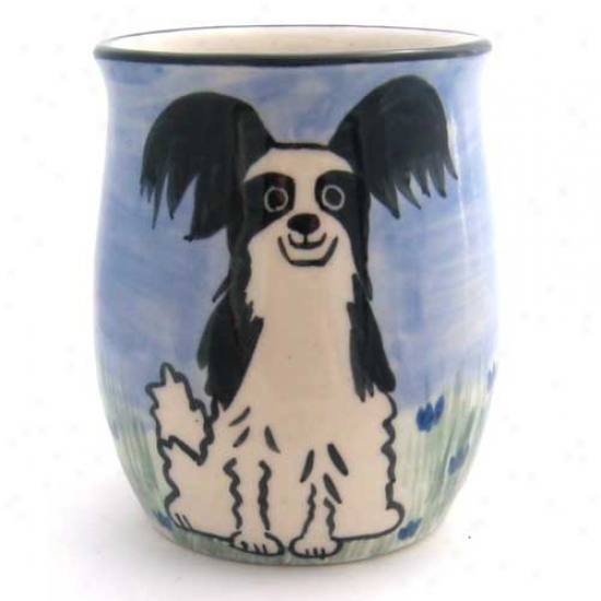 Deluxe Black And White Papillon Mug