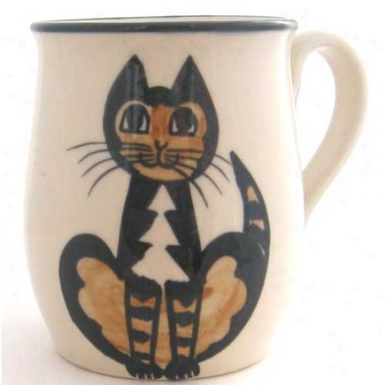 Deluxe Calico Sitting Cat Mug