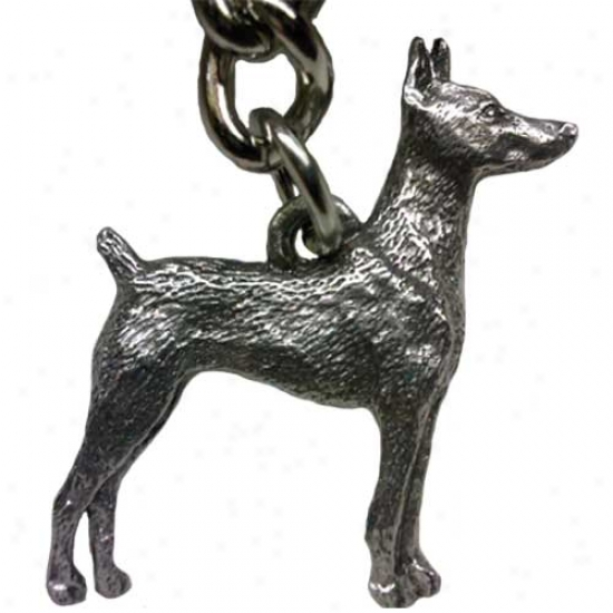 Doberman Pinscher George Harris Pewter Keychain