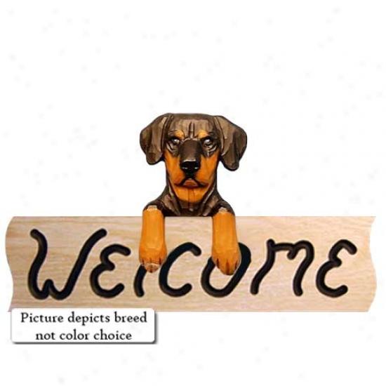 Doberman Pinscher Natural Fawn Welcome Sign Oak