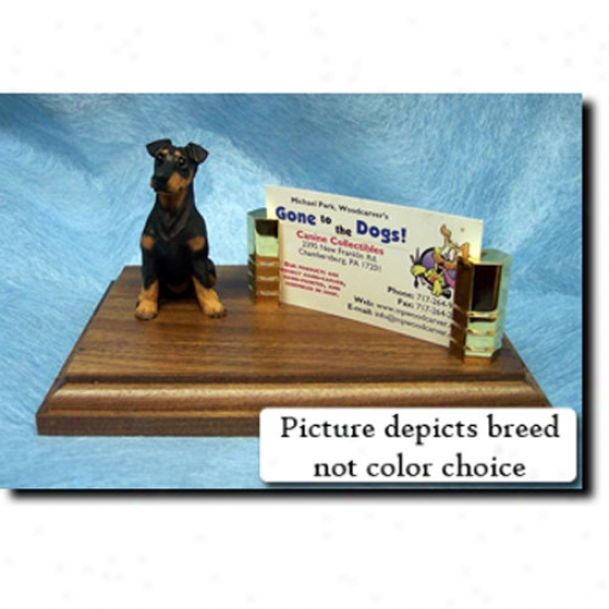 Doberman Pinscher (red And Tan) Business Card Holder - Regular