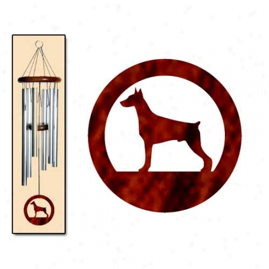 Doberman Pinscher Wind Chimes Medium Silver