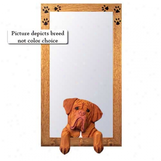 Dogue De Bordeaux Hall Mirror With Basswood Walnut Frame