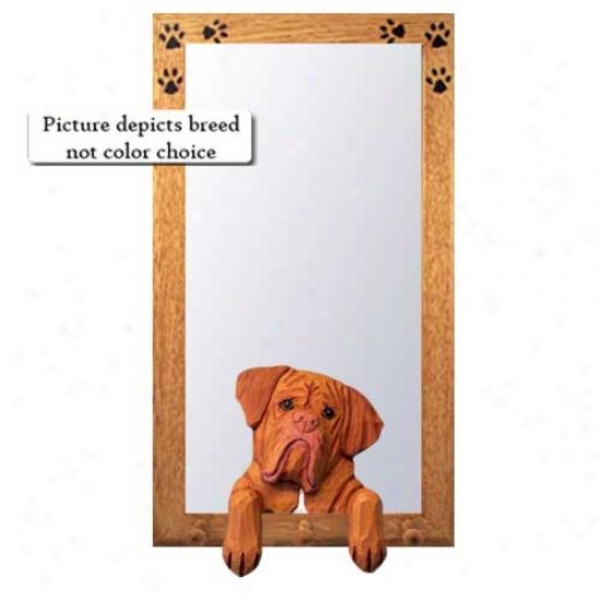 Dogue De Bordeaux Halp Mirror With Oak Golden Frame