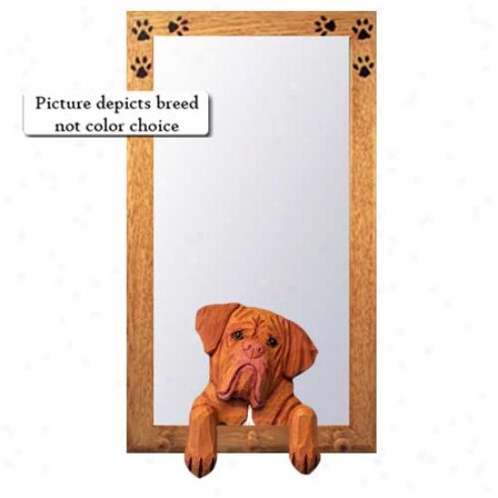 Dogue De Bordeaux Hall Mirror With Oak Affectionate Frame