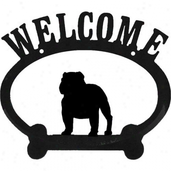 English Bulldog Metal Welcome Sign