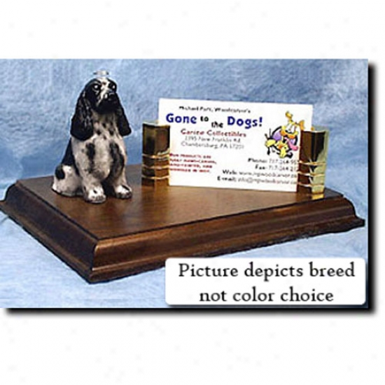 English Cocker Spaniel (black And Tan) Business Card Holder
