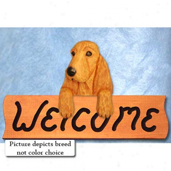 English Cocker Spaniel Liver Welcome Sign Maple