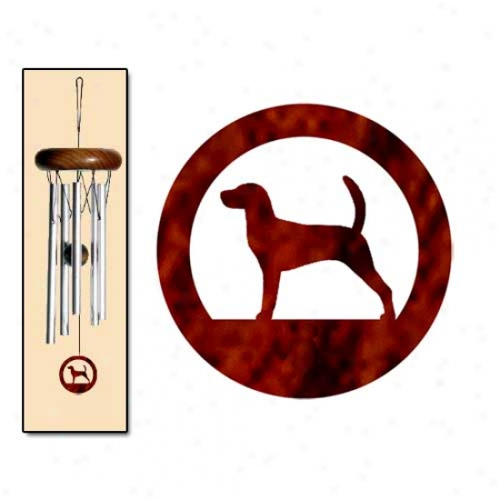 English Foxhound Wind Chimes X-small Silver