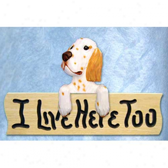 English Setter I Live Here Too Oak Finish Sign Orange