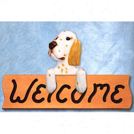 English Setter Orange Welcome Sign Maple