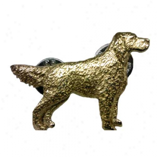 English Setfer Pin With Tail Up 24k Goid Plated