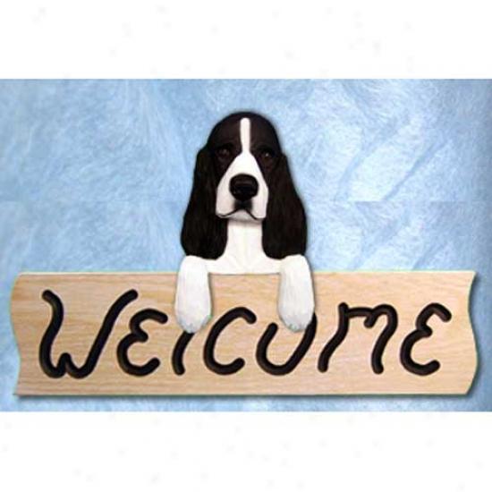 English Springer Spaniel Black Welcome Sign Oak