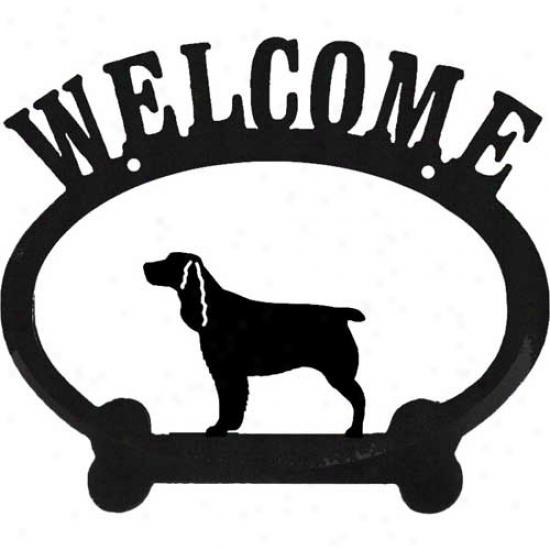 English Springer Spaniel Metal Welcome Sign