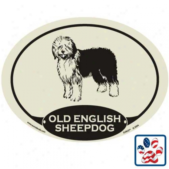 European Style Old EnglishS heepdog Auto Decal