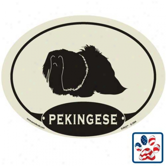 European Manner Pekingese Auto Decal
