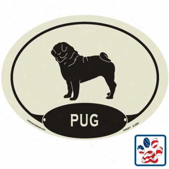 European Style Pug Auto Decal
