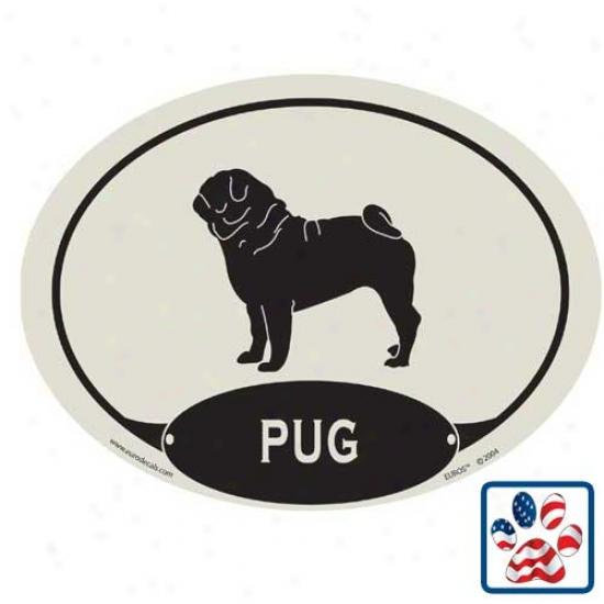 European Style Pug Car Magnet