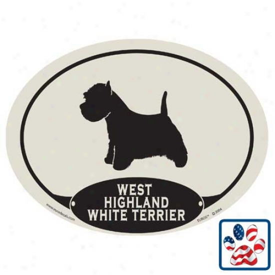 European Style West Highland White Terrier Car Magnet
