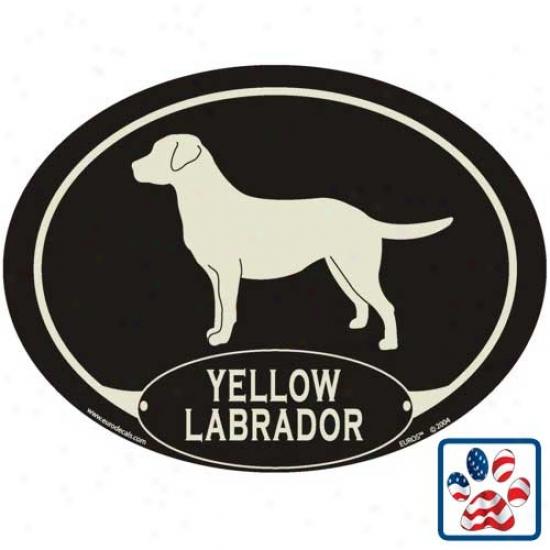 European Manner Yellow Labrador Retriever Auto Decal
