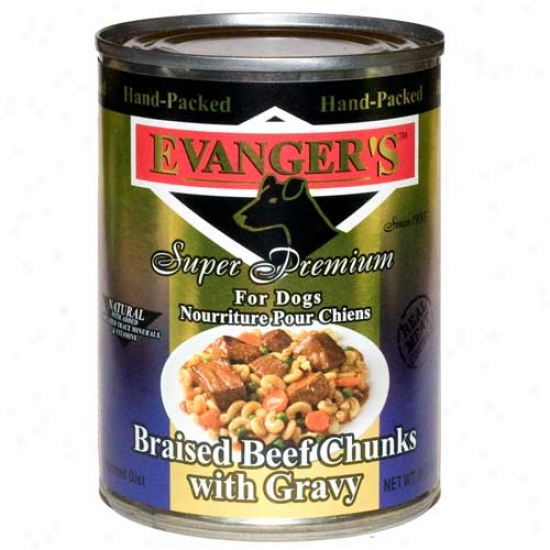 Evangers Gold Label Braised Beef Chunks In Gravy Dog Food Case Of 12 13.2oz Cans