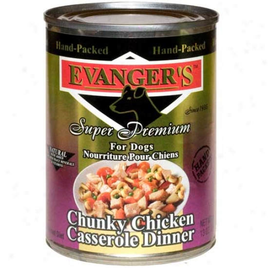 Evangers Gold Label Chunky Chicken Casserole Dog Food Case Of 12 13.2oz Cans