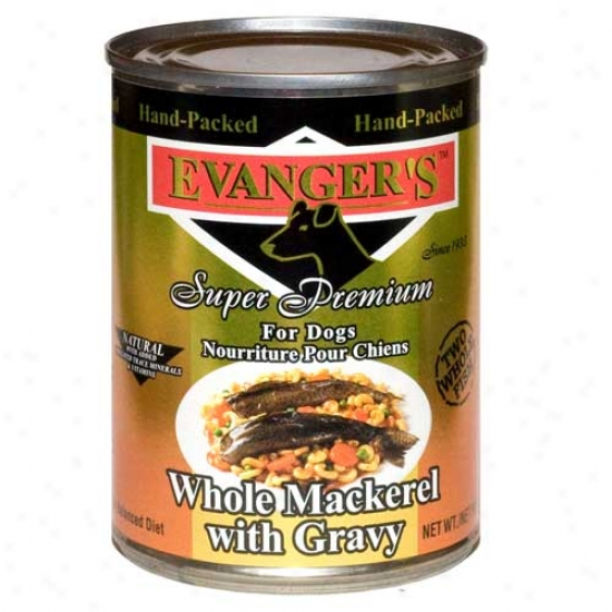 Evangers Gold Label Whole Mackerel With Gravy Dog Food Case Of 12 13.2oz Cans