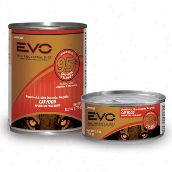 Evo Cat Food 95 Percent Chicken Turkey 13.2oz Case Of 12 Cans