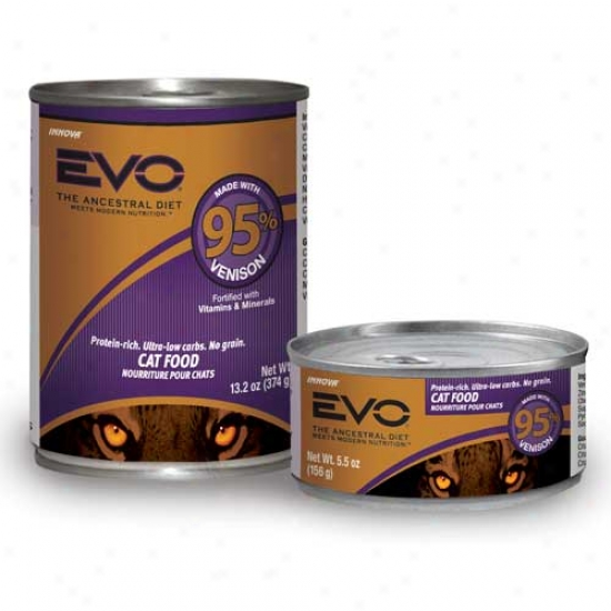 Evo Cat Food 95 Percent Venison 13.2oz State Of 12 Cans