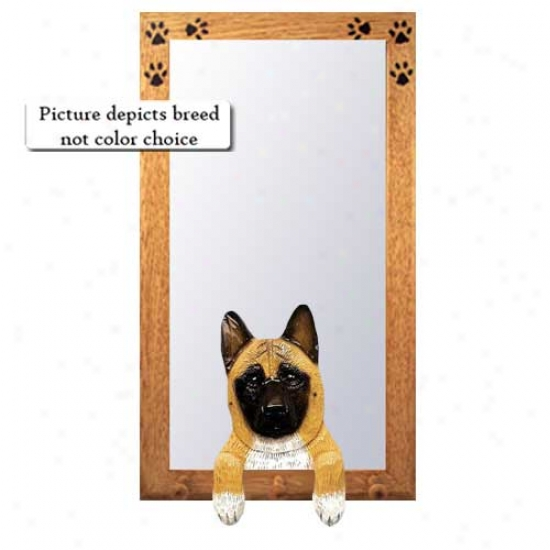 Fawn Akita Hall Mirror With Oak Golden Frame