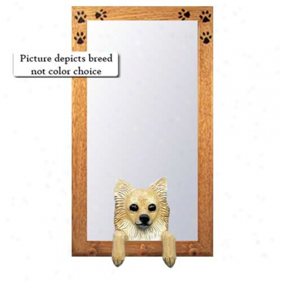Fawn And White Chihuahua Hall Mirror With Oak Natural Frame