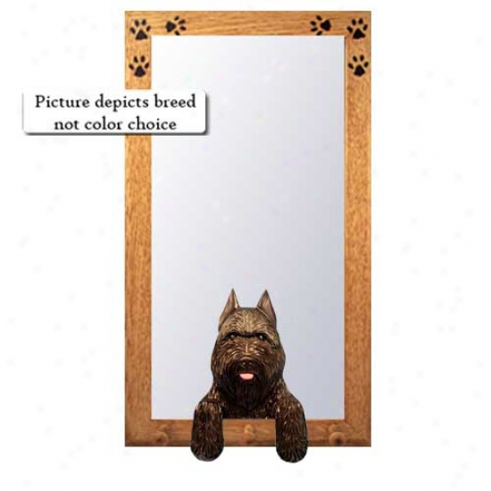 Fawn Bouvier Des Flandres Hall Mirror With Oak Golden Frame