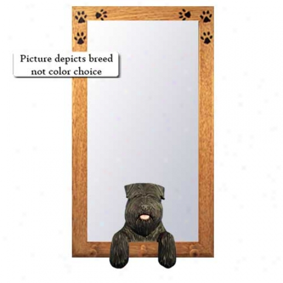 Fawn Bouvier Des Flandres Hall Mirror With Oak Natural Frame Natural