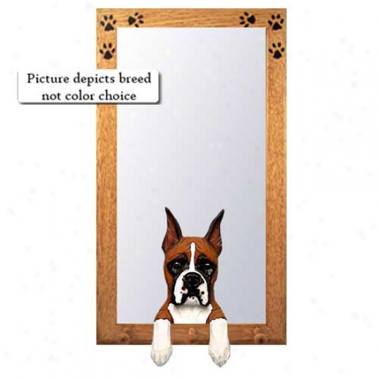 Fawn Boxer Hall Mirror With Baqswood Pine Frame