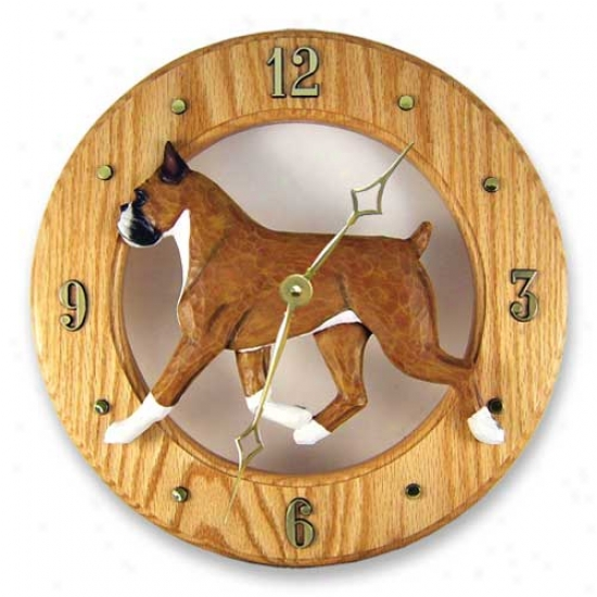 Fawn Boxer Wall Clock In Light Oak By Michael Park