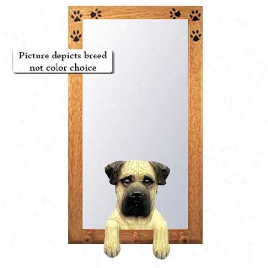 Fawn Brindle Bullmastiff Hall Mirror With Basswood Walnut Frame