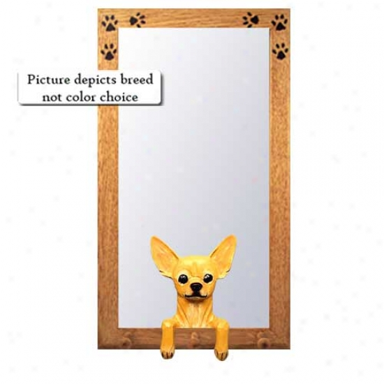 Fawn Chihuahua Hall Mirror With Oak Golden Frame