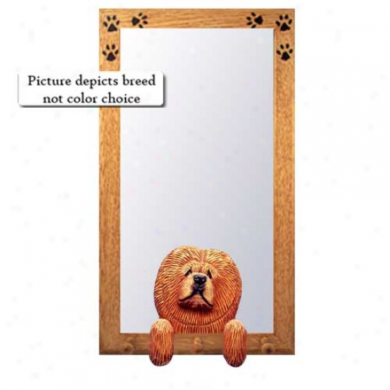 Fawn Chow Chow Hall Mirror With Oak Golden Frame