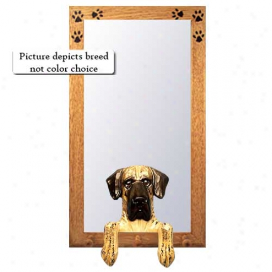 Fawn Great Dane Hall Mirro rWith Basswood Pine Frame Natural