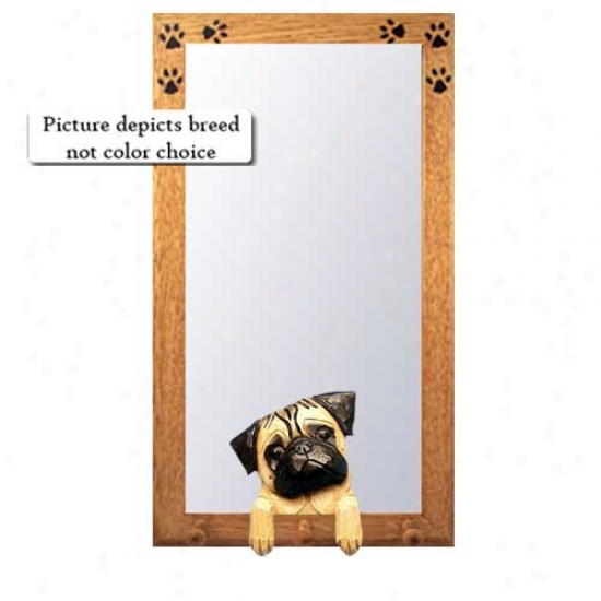 Fawn Pug Hall Mirror With Oak Natural Condition