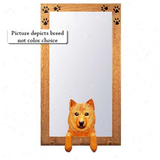 Finnish Spitz Hall Mirror With Basswood Pine Frame