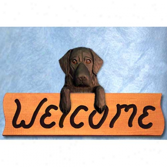 Flat-coated Retriever Black Welcome Sign Maple
