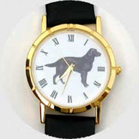 Flat Coated Retriever Watch - Small Face, Black Leather